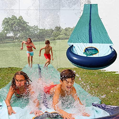 TEAM MAGNUS Water Slide - Central Sprinkler and XL Crash pad for Backyard Races