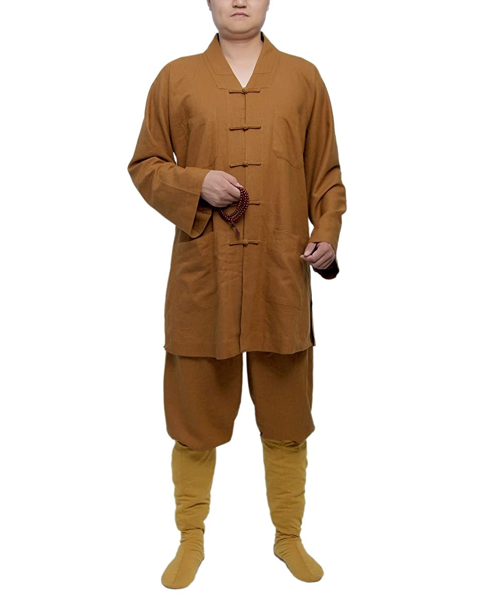 ICNBUYS Men's Traditional Shaolin Kung Fu Robe Cotton and Linen