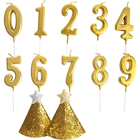 BBTO 10 Pieces Large Birthday Numeral Candles Cake Numeral Candles Number 0-9 Glitter Cake Topper Decoration for Birthday Wedding Anniversary Party Decoration