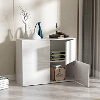 Greensen High Gloss Modern Sideboard Buffet Storage Cabinet White Sideboard for Kitchen Home Cupboard Buffet Dining Room Furniture