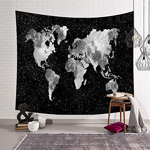 Tapiz de Pared Psicodélico,Mapa del mundo en blanco y negro Tapiz,Tapices hippie,Tapiz grande,Tapices Indio,Tapices Decoración de Pared para Dormitorio Sala de Estar 180x200cm/71x79in