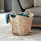 Household Essentials ML-4002 Tall Water Hyacinth Wicker Basket with Handles   Natural, Brown, Natural