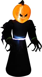 HOMCOM 7ft Tall Inflatable Halloween Pumpkin Reaper Light Up Yard Decoration with LED Lights and Fan