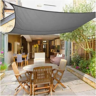HHJJ Rectangle Sun Shade Sail Waterproof DIY Shade Canopy Square Permeable UV Block Awning Thick Wear-Resistant 300D Oxford Cloth,Gray,3x3m(10x10ft)