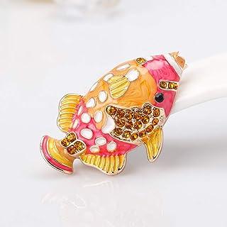 Broche PULABO con diseño de pez y diamantes de imitación para mujer, para vestir, ropa, cómodo y respetuoso del medio ambi...