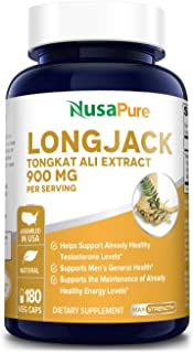 Longjack Tongkat Ali 900mg 180 Veggie Caps (Non-GMO & Gluten Free) - Natural Testosterone Booster, Increase Physical Endur...