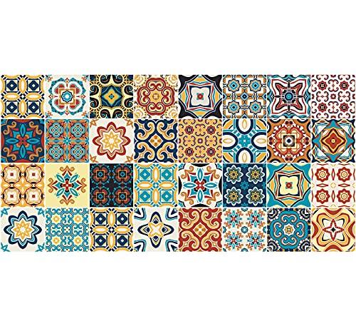 Il Gruppone Passione Casa Tappeto passatoia Fantasia Made in Italy in 3 Colori Fantasia Piastrelle - 50x300cm - Arancione