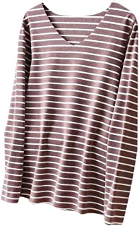 UUYUK Women Long Sleeve V-Neck Slim Fit Casual Stripe T Shirt Blouse Tops