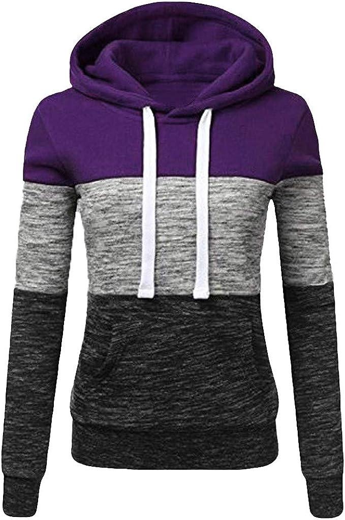 Cuekondy Hoodies Sweatshirt Women's Casual Color P Hooded Block overseas Ultra-Cheap Deals