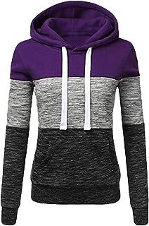18c457cb399 OCEAN-STORE Womens Hoodies Sweatshirt Shirts Patchwork Hooded Blouse Tops