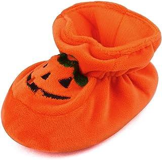 ESTAMICO Newborn Baby Boys` Girls` Halloween Pumpkin Bootie Soft Soles Infant Crib Shoes