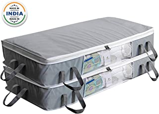 HomeStrap Big Under Bed Storage/Organizer for Quilts, Comforters, Blanket Storage with Large Front Window - Pack of 2