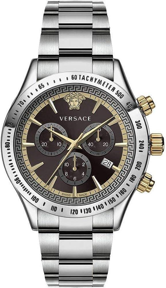 Versace,orologio cronografo per uomo,in acciaio inossidabile e quadrante modello greca VEV7004 19