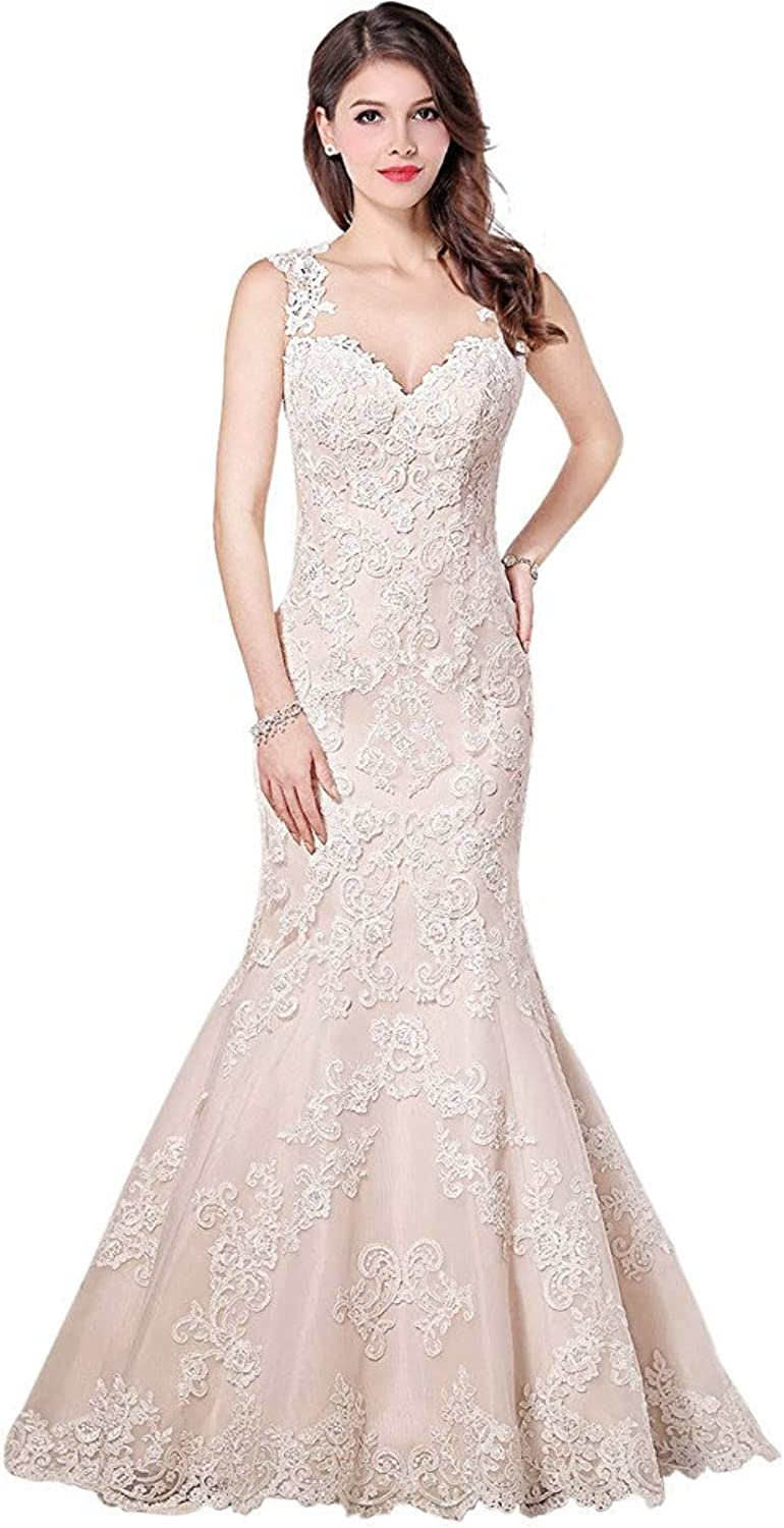 YOUAREFACNY Womens Sexy Mermaid Lace Wedding Bridal Dresses V Neck Prom Gowns 2017