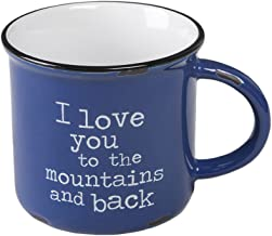Natural Life Ceramic Camp Mug - Large, 16 oz, Cute Camping Cup With Handle for Your Coffee, Tea, Soup, Oatmeal, More (Mountains and Back)