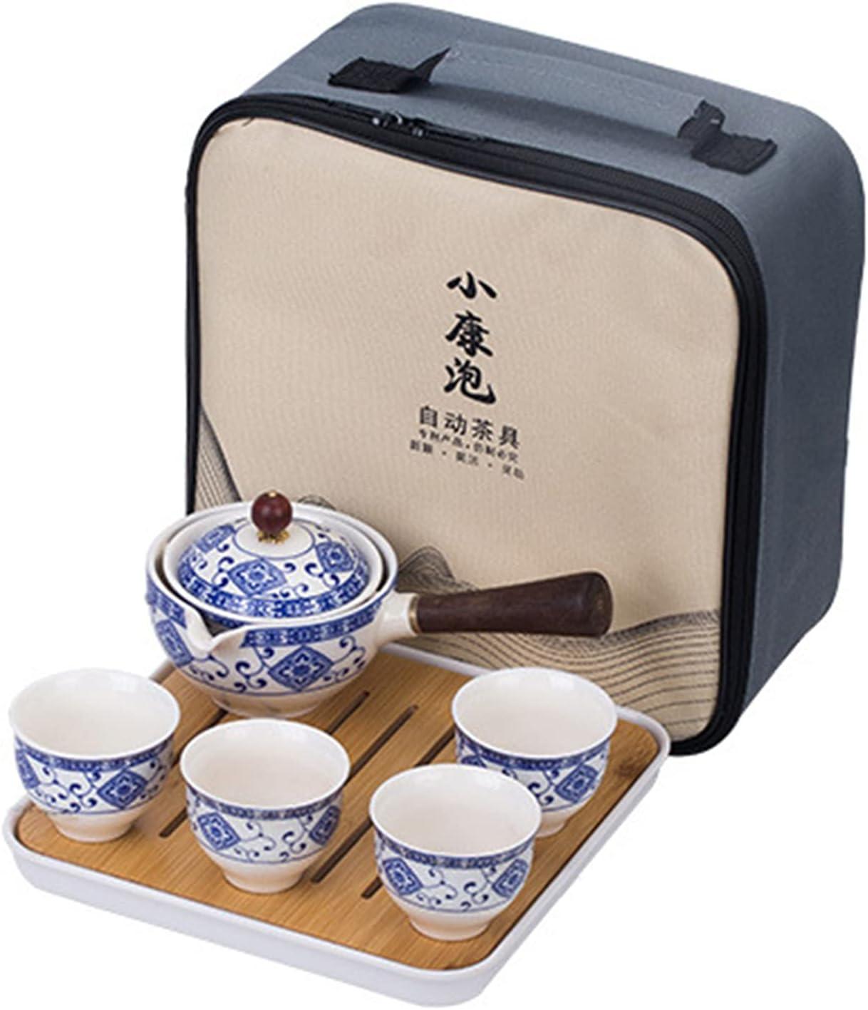 fanquare Blue and White Max 63% OFF Porcelain National uniform free shipping Tea Travel Handm Portable Set