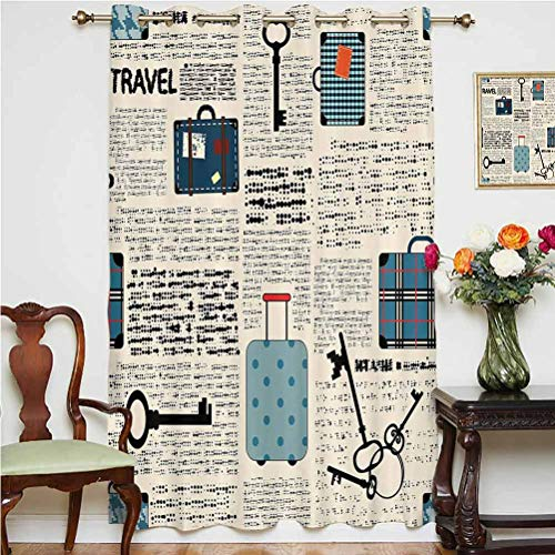 Old Newspaper Decor Shading Curtains Retro Style Travel Vacation Theme Vintage Suitcases Keys Dot Text Grommets Panels Printed Curtains ,Single Panel 52x63 inch,for Bedroom Cream Blue Black