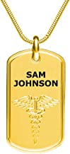 Divoti Deep Custom Laser Engraved Stainless Steel Medical Alert Necklace for Men, PVD Gold/Stainless Classic Tag Medical ID Necklace, Medical Dog Tag w/Free Engraving-One of Various Chains (24/28 in)