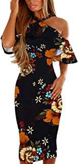 2018 New Fashion Sexy Women Casual Print Floral Sleeveless Backless Dress Balakie Off-shoulder Slim Princess Dresses (L, Multicolor)