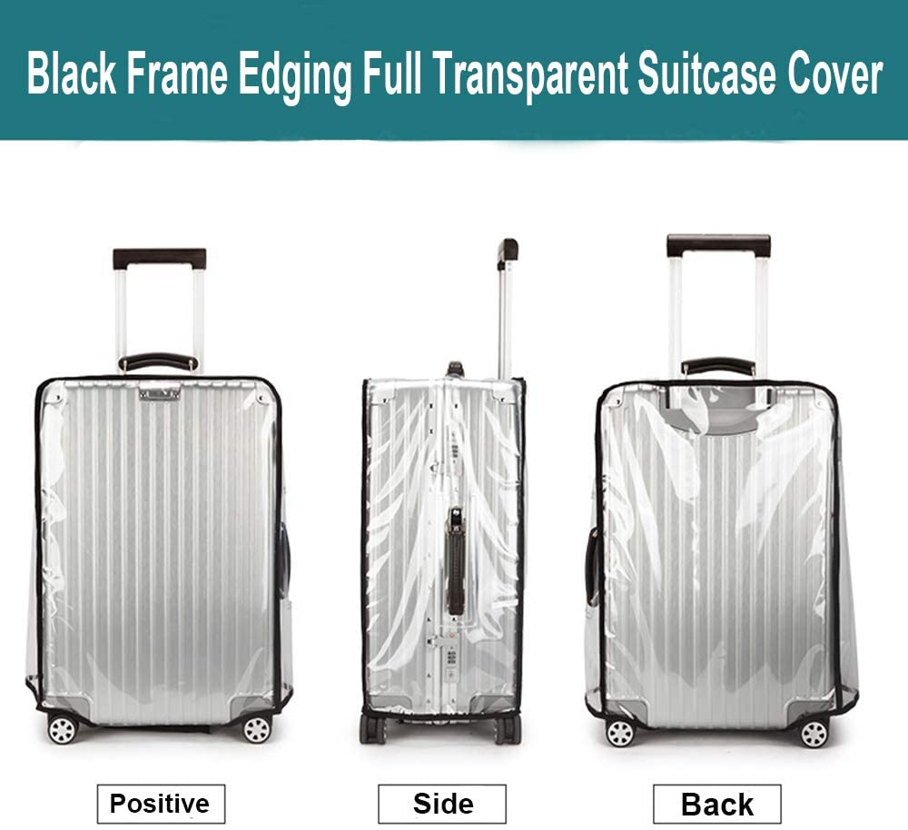 TopZK Clear PVC Suitcase Cover Protectors 20 22 24 26 28 30 Inch PVC Transparent Travel Luggage Protector for Carry on