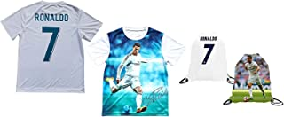 Sport Fans Edge Ronaldo Jersey Style T-Shirt Kids Cristiano Ronaldo Jersey Picture T-Shirt Gift Set Youth Sizes ✓ Premium Quality ✓ Lighteight Breathable ✓ Soccer Backpack Gift Packaging