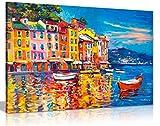 Cuadro pintado al óleo, colorido, barcos, mar, puerto, lienzo de pared, arte, impreso, A0 91x61cm (36x24in)