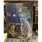 """The Great Bear II"" Greetings Card from The Artist Hannah Willow, Bear and Wolf Stargazing Birthday Card. Art Card"
