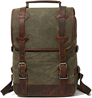 Men's Leather Waxed Canvas Vintage Laptop Backpack Campus Bag College Style Travel Rucksack Camping