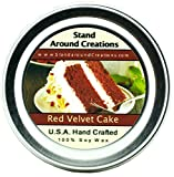 Premium 100% All Natural Soy Wax Aromatherapy Candle - 2 oz Tin Red Velvet Cake: Red Velvet Cake Fragrance is a savory and decadent blend of chocolate cake with sweet cream cheese frosting. Strong and sweet, this is sure to be your new favorite cake scent