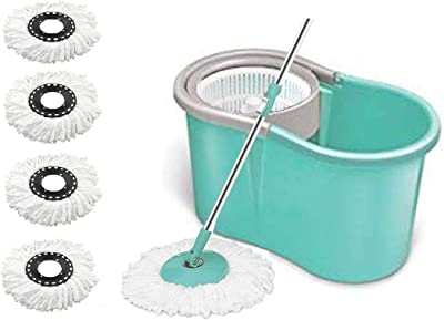 KWEL Home Cleaning 360° Spin Floor Cleaning Easy Advance Tech Bucket PVC Mop & Rotating Steel Pole Head with 5 Microfiber Refill Head (Aqua Green)