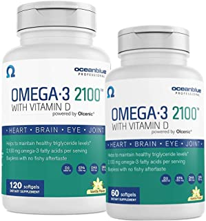 Oceanblue Omega-3 2100 with Vitamin D3 – 120ct + FREE 60ct Bonus Bottle – Triple Strength Omega-3 Fish Oil Supplement with High-Concentration EPA and DHA, and Vitamin D3 - Wild-Caught - Vanilla Flavor