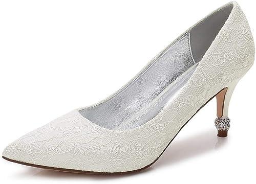 Zxstz zapatos de mujer zapatos de satén Comfort Basic Pump zapatos de Boda Kitten Heel Cone Talón Bajo talón Puntiagudos Satén