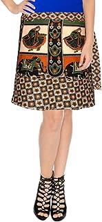 Sttoffa Bagru Print Rajasthani Ethnic Style Short Length Wrap Around Cotton Skirt Off-White