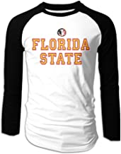 Creamfly Mens Florida State University Seminole Head Long Sleeve Raglan Baseball Tshirt
