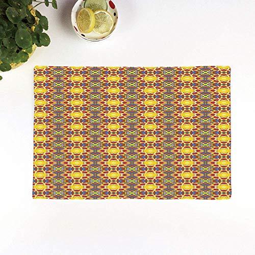 Sets de Table antidérapants résistants à la Chaleur,Soleil géométrique et oriental à l'intérieur d'une fleur Cultur,Lavables Sets de Tables pour Dîners de Famille, Restaurants, Cafés (4 Sets) 45*30cm