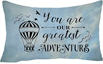 You are Our Greatest Adventure Flying Birds Hot Air Balloon Retro Blue Background Cotton Linen Lumbar Throw Waist Pillow Case Decorative Cushion Cover Pillowcase Sofa 12x20 inches