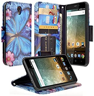 COVERLABUSA Compatible for ZTE ZMAX Grand LTE Case,ZMAX Champ, Avid 916/Warp 7/rand X3 Case, Leather Wallet Case [Kickstand] Protective Phone Case Cover (Blue Butterfly)