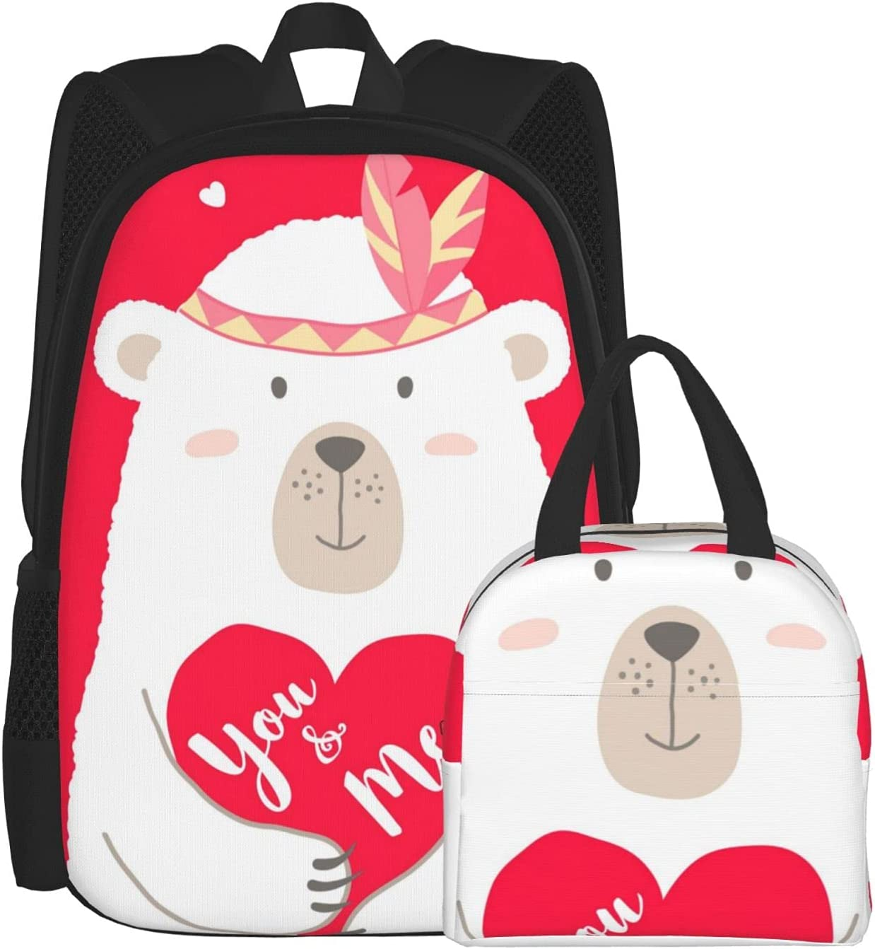 Cute Cartoon Bear Holding Heart Long-awaited Backpacks Gir Albuquerque Mall with Box Lunch for