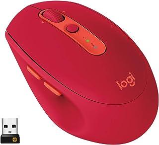 Logitech M590 Silent Ratón Inalámbrico, Multi-Dispositivos, 2.4 GHz o Bluetooth con Receptor USB Unifying, Seguimiento 1000 DPI, Batería 2 Años, PC/Mac/Portátil, Rojo