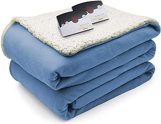 Biddeford Comfort Knit Fleece Sherpa Electric Heated Blanket Queen Gray