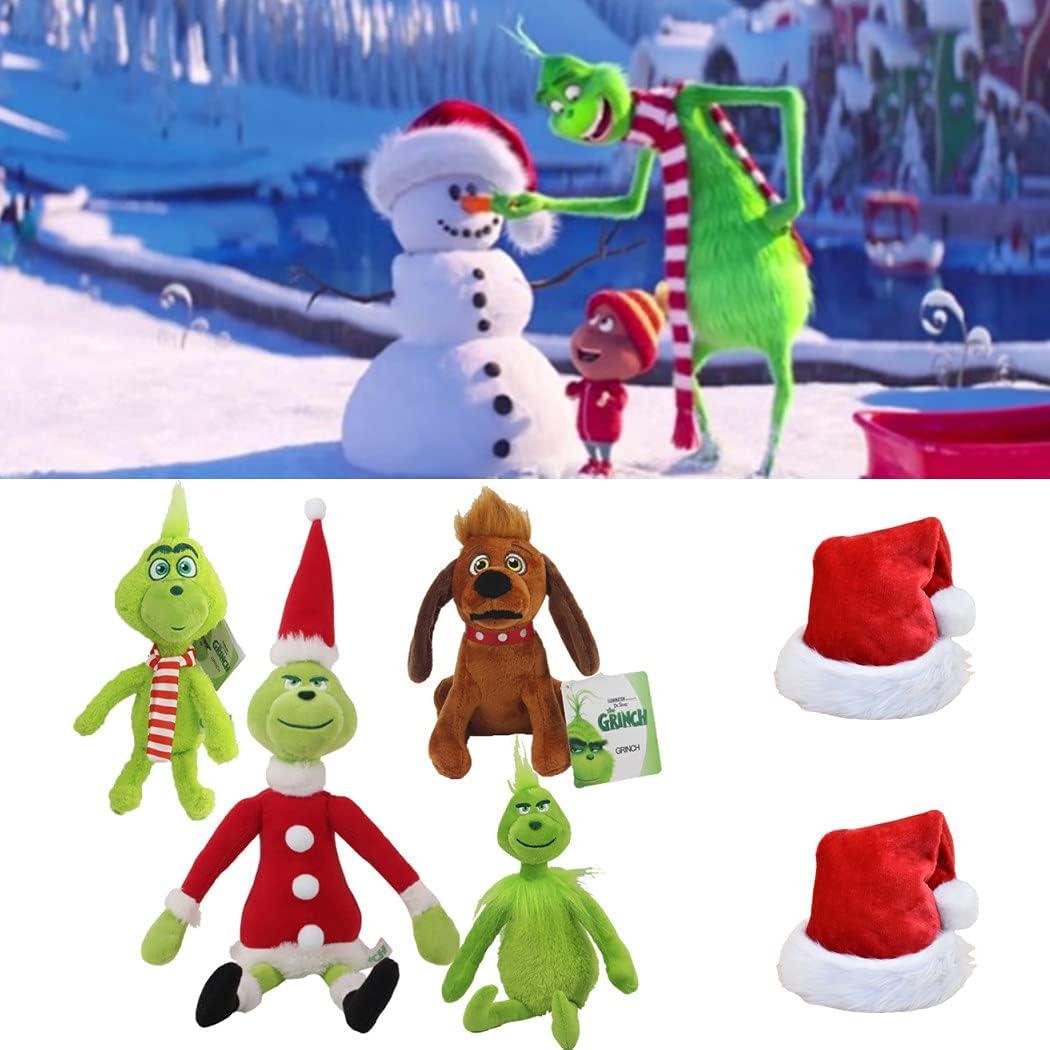 Lyshbzd 4 PCS Cómo el Grinch robó Juguetes de Peluche, Juguete para Perros Christmas Grinch MAX, Muñeca de Peluche de Dibujos Animados, Muñeco de Peluche Suave para niños, Regalar Sombrero de Navidad