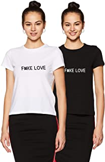 Melcom Cotton Black and White T Shirt Pack of 2 for Women : Fake Love