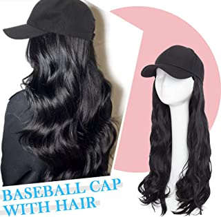 Baseball Hat with Synthetic Hair Extension Long Wavy Wig with Cap All Cotton Made Black Hat with Hair Attached Adjustable Baseball Cap with hair Outdoor Removable Hat Wig for Women #1 dark black