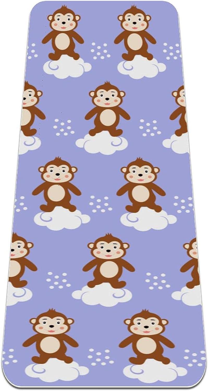 Yoga Mat Non Slip New York Mall TPE monkey to Latest item Density Avoid Padding High cloud
