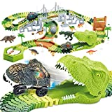 174 PCS Dinosaur Toys Race Track, Flexible Train Tracks with 8 Dinosaurs Figures, 2 Electric Race Cars Vehicle Playset with Lights to Create A Dinosaur World Road Race for Toddlers Kids Boys Girls