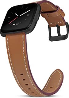 SKYLET Bands Compatible with Fitbit Versa/Versa 2/Versa Lite for Women Men, Soft Classic Genuine Leather Replacement Acces...