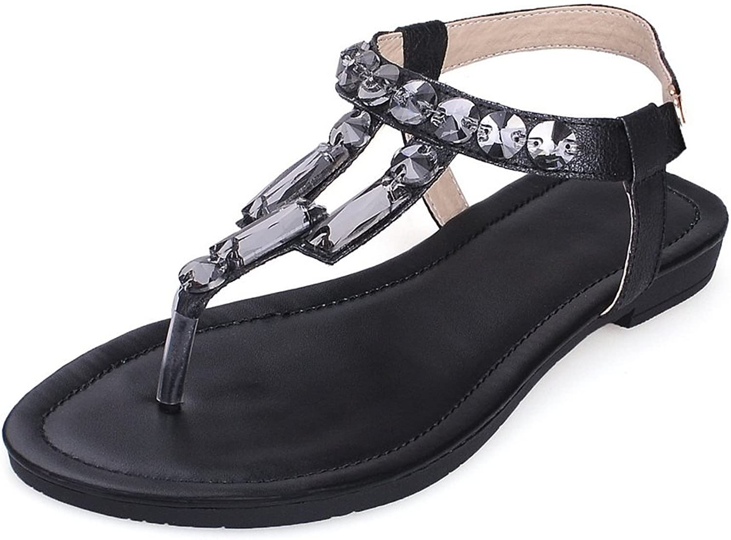 AdeeSu Ladies Toepost Style Buckle Leather Sandals