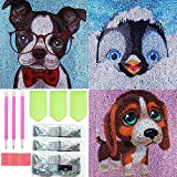 3 PCS Diamond Art for Kids, SPOKKI 12 inch Easy 5D Diamond Dots Painting Kit Crystal Gems Embroidery for Girls Kids Adults Beginners Art Crafts Christmas Kits (Dog,Dog,Penguin)