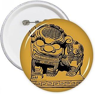 chinoise Pierre Lion Noir Patriotisme broches rondes badge Button Vêtements Décoration 5pcs Cadeau Petit multicolore