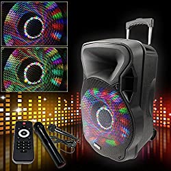 etc-shop 700W Mobile LED Soundanlage Karaoke Bluetooth USB SD MP3 Trolley Funkmikro